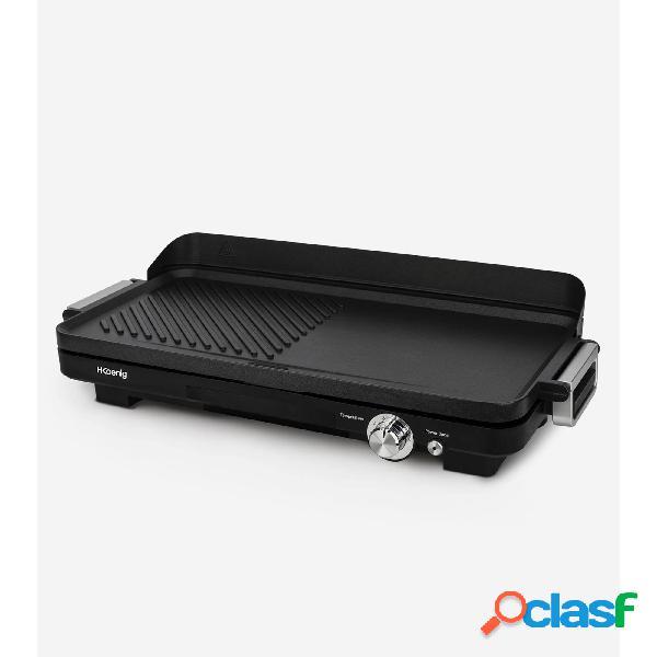 Grill piastra elettrica e plancha grx330 antiaderente superficie di cottura 50 x 25 cm 1800w termostato regolabile e vaschetta raccoglitrice