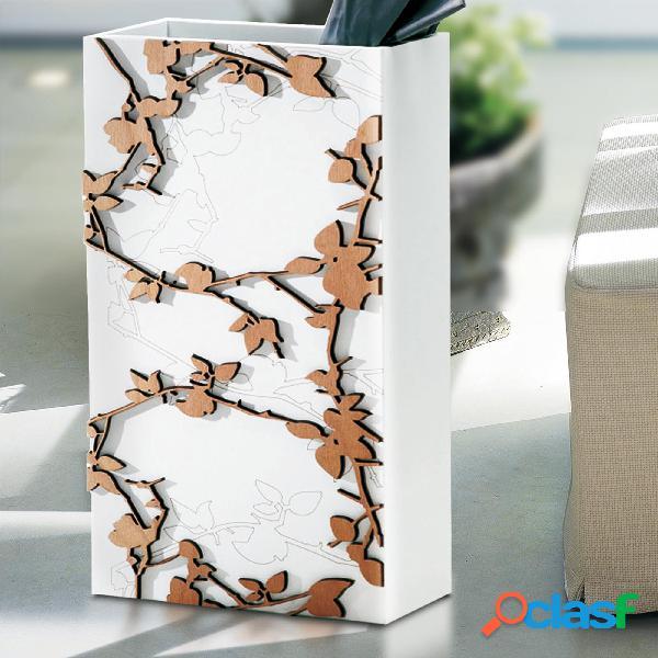 Portaombrelli rettangolare gloria 30x15xh50 cm in legno tagliato al laser colore bianco legno naturale
