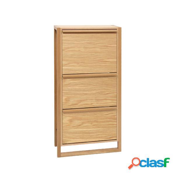 Scarpiera 3 ante newest in legno ingegnerizzato e solido, plastica, dimensioni 67 x 28 x h138 cm, peso 36 kg, finitura quercia