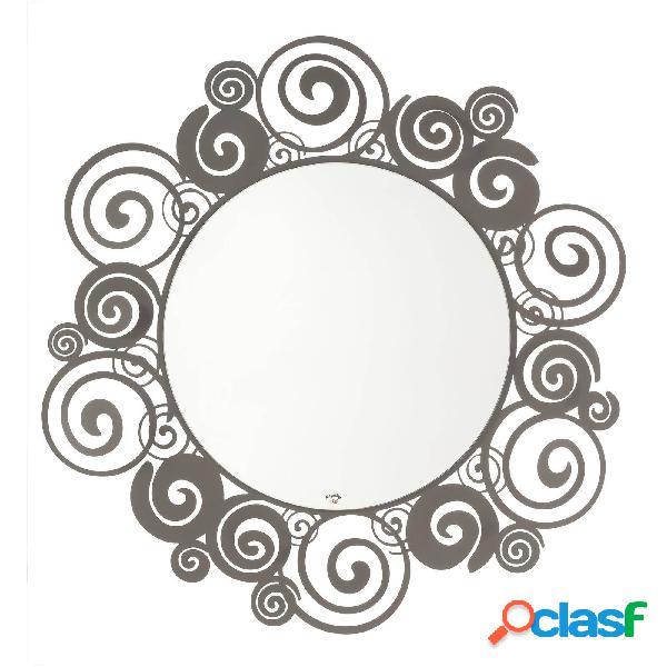 Specchio da parete moderno orfeo in metallo, diam.90, colore fango