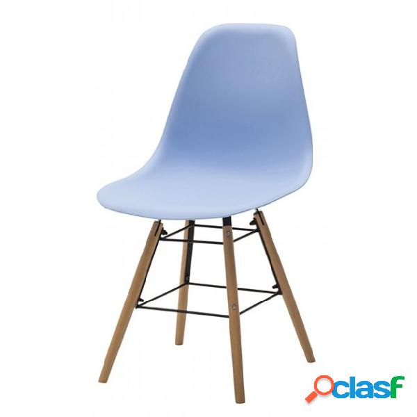Set di due sedie dsw in polipropilene azzurro e gambe in faggio