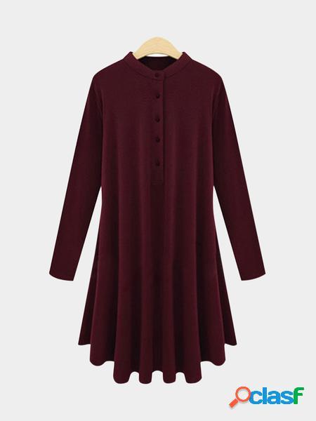 Yoins plus abito casual a maniche lunghe taglie bordeaux