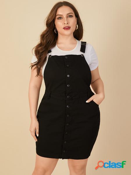 Yoins plus taglia square collo abito senza maniche con design a bottoni con tasche laterali
