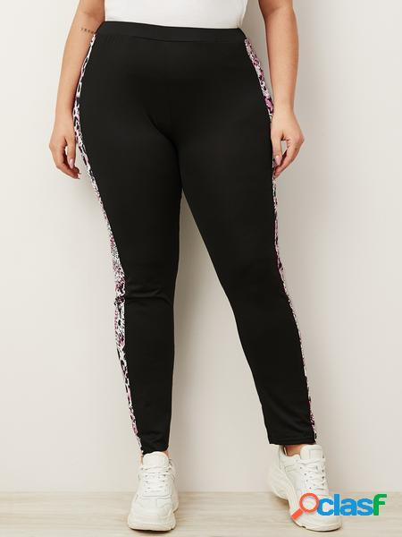 Yoins plus taglia black leopard patchwork pantaloni