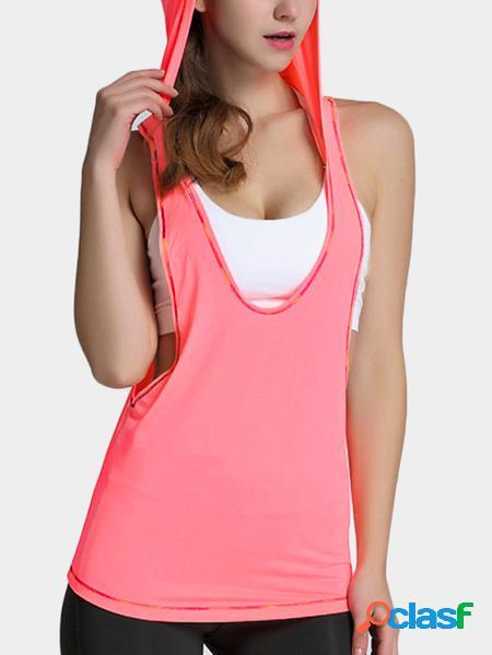 Yoins felpa con cappuccio da ginnastica elastica rosa a righe colorate