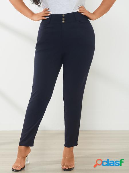 Yoins plus taglia navy pocket design pantaloni