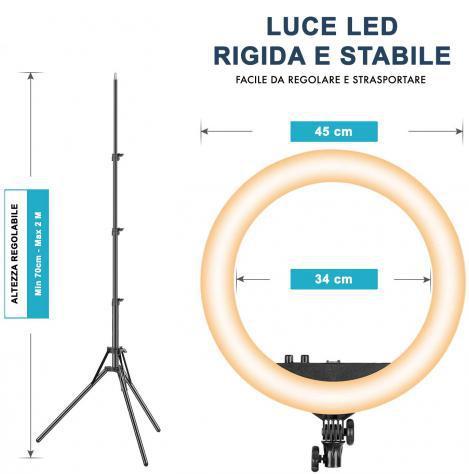 Lampada ad anello luce led 45 cm faro selfie con treppiedi