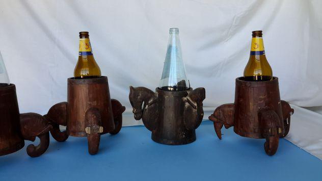 Portabottiglie da tavolo in legno molto antichi
