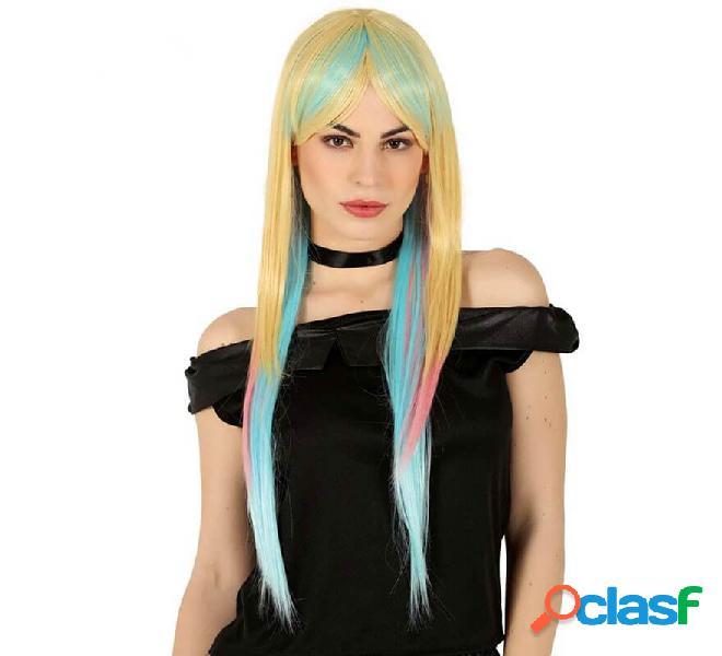 Parrucca lunga multicolore di alta qualità