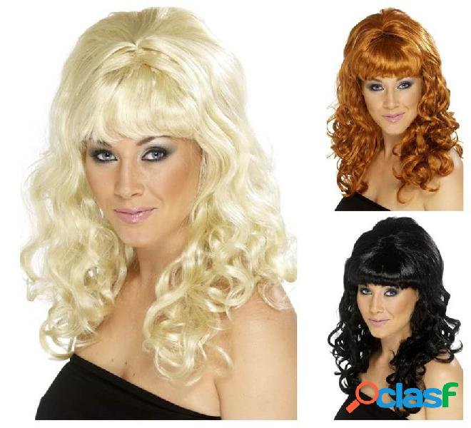 Parrucca dall'acconciatura arruffata femminile anni '60 in vari colori