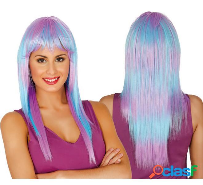 Parrucca capelli lunghi lunghi blu e viola