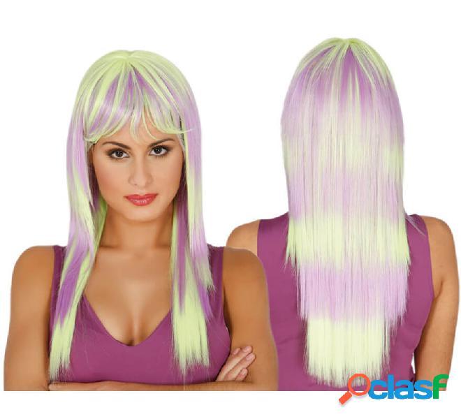 Lunga parrucca a pelo lungo giallo e viola