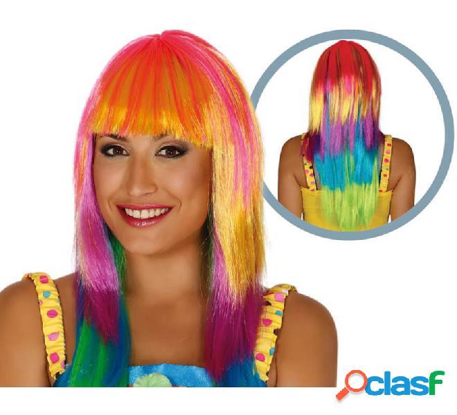 Parrucca liscia lunga multicolore