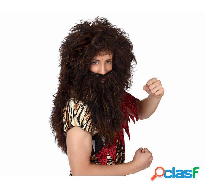 Parrucca e lunga barba da cavernicolo