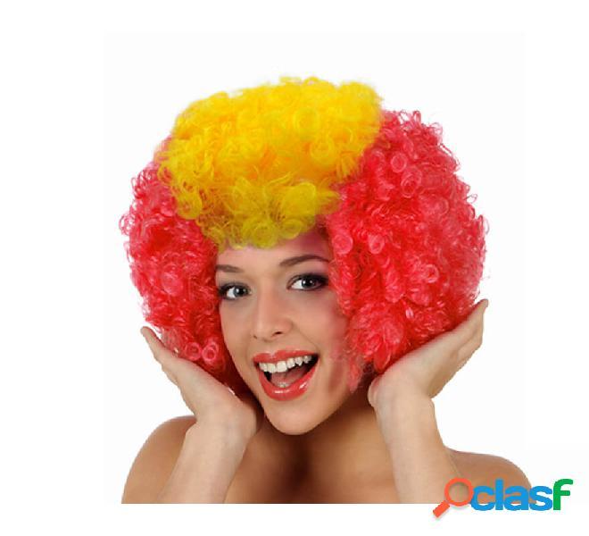 Parrucca riccia clown con la bandiera della spagna