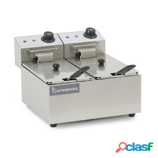 Friggitrice elettrica da banco con 2 vasche capacità 4+4 lt, 2+2 kw, monofase