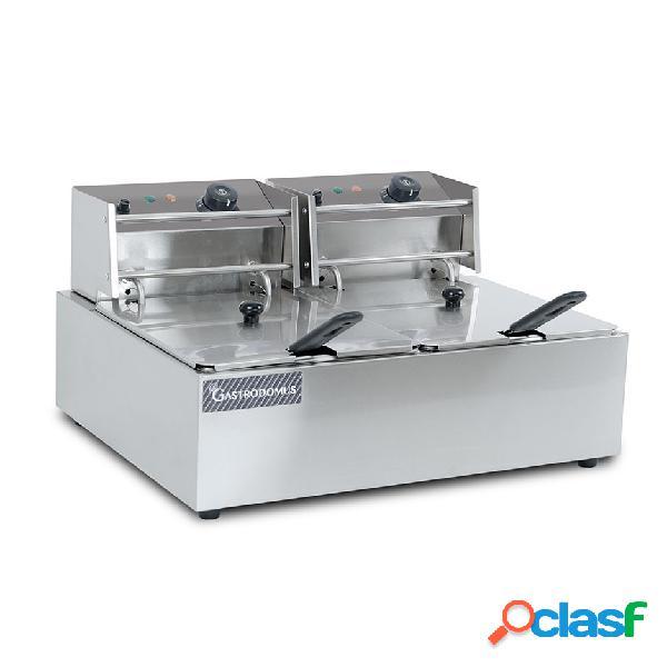 Friggitrice elettrica da banco con 2 vasche capacità 6+6 lt, 2,5+2,5 kw, monofase