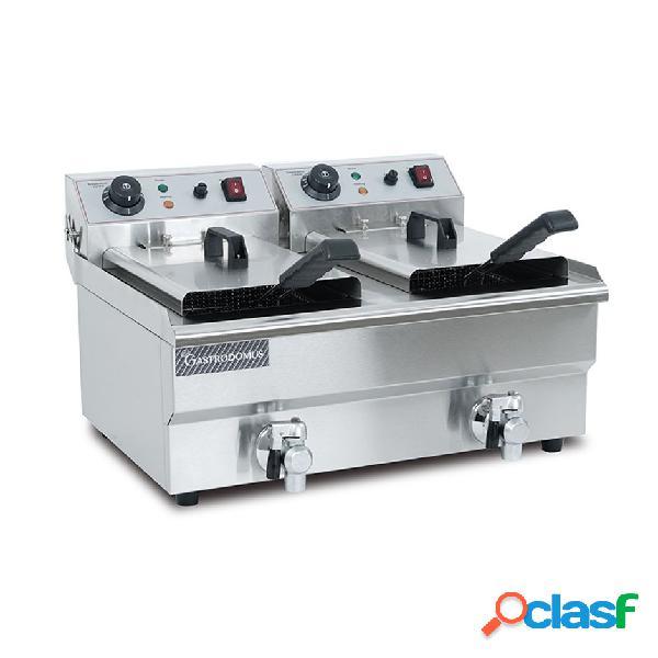 Friggitrice elettrica da banco con 2 vasche capacità 10+10 lt, 3000+3000w, monofase con rubinetto
