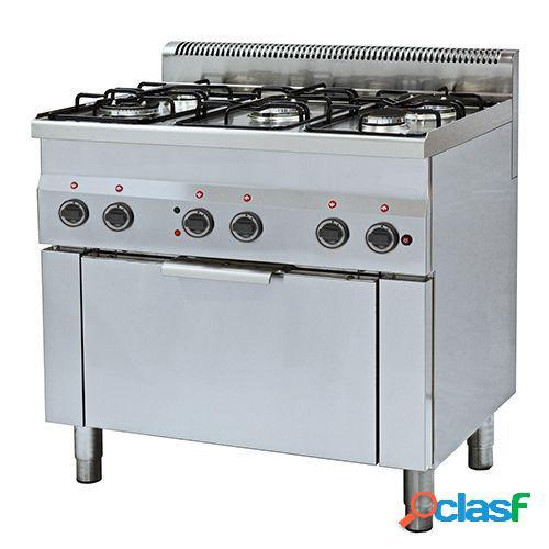 Cucina a gas con 5 fuochi, forno elettrico a convezione per griglie GN 1/1, profondità 600 mm