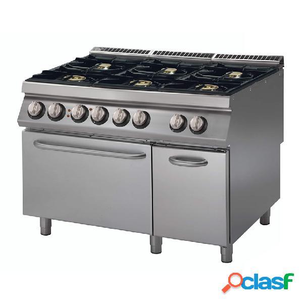 Cucina a gas con 6 fuochi, forno elettrico statico e armadio neutro, profondità 900 mm