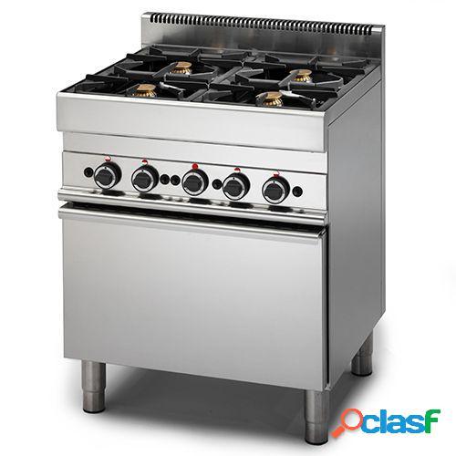 Cucina professionale a gas con 4 fuochi, forno elettrico a convezione, profondità 650 mm