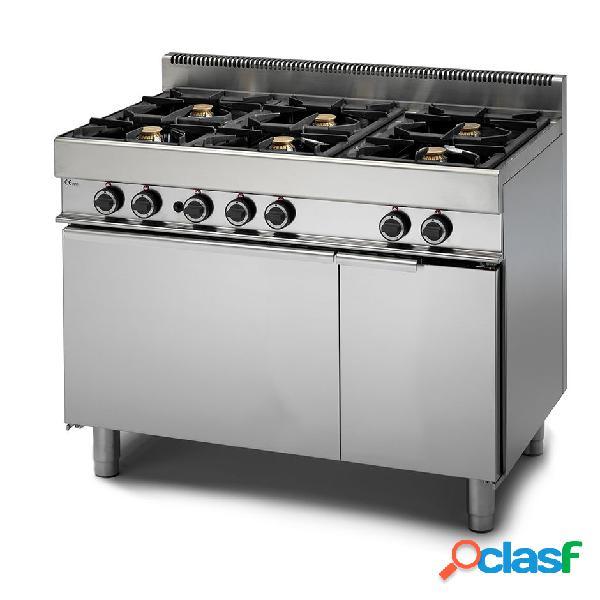 Cucina professionale 6 fuochi a gas con forno elettrico a convezione e armadio neutro, profondità 650 mm