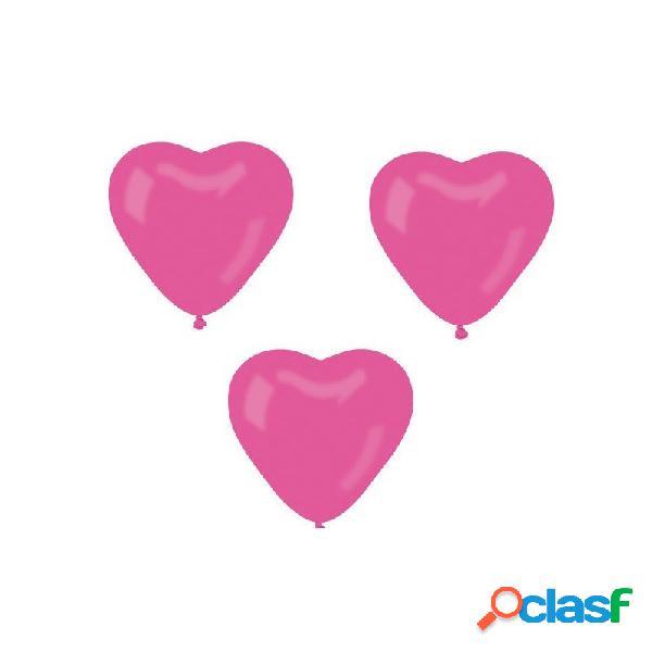 100 palloncini cuore fuxia per feste cr/07 gemar