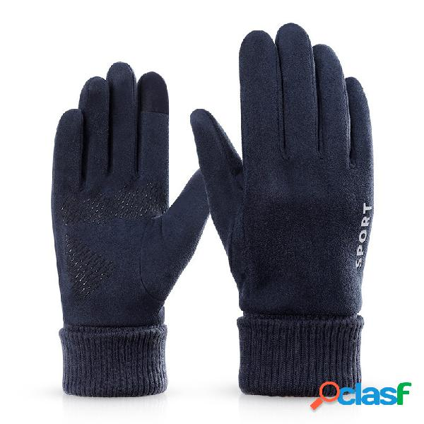Touch screen uomo antiscivolo scamosciato caldo full-finger guanti idoneità tactical driving skiing guanti