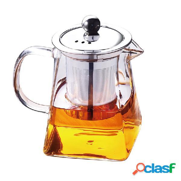 Teiera in vetro teiera in vetro resistente alle alte temperature teiera con fiore in foglia con coperchio del filtro per infusore