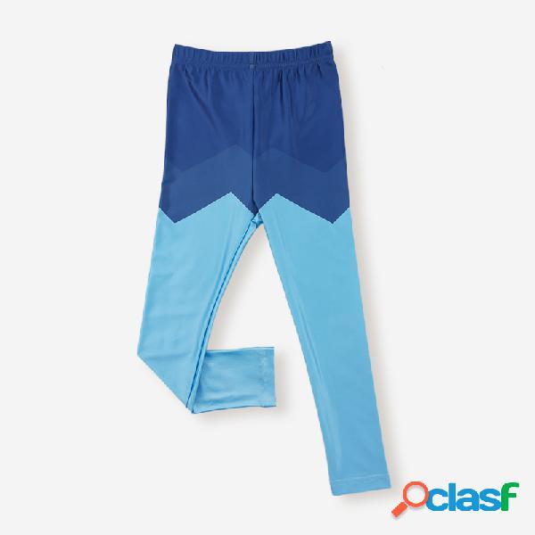 Boy's color patchwork elatisc casual pantaloni per 1-7y