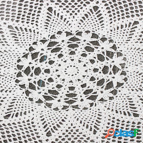 Tovaglietta in pizzo all'uncinetto fatto a mano da 60 cm centrini in cotone rotondo bianco tovaglia home decor