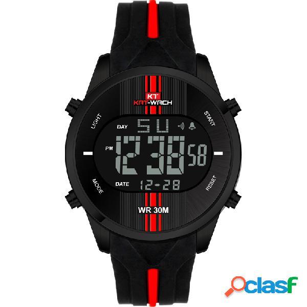 Uomo orologio sportivo idrorepellente con allarme cronografo con cinturino in silicone
