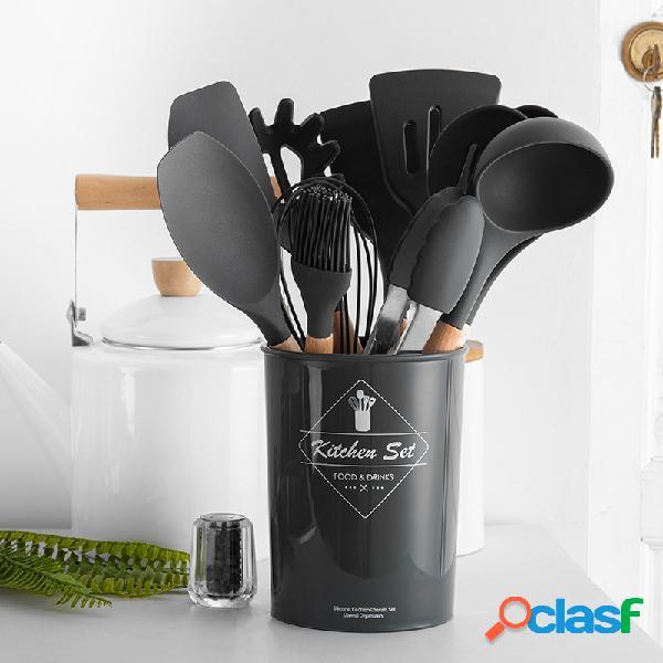 Manico in legno silicone set di utensili da cucina 11/9/8 pezzi set di utensili per pala da cucina