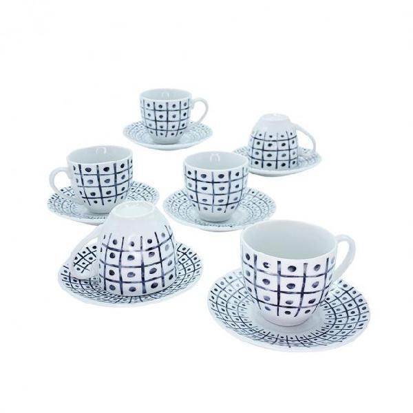 Set 6 tazzine da caffe' con piattino mod. tris 270044 di