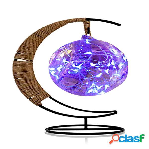 Led luce notturna fatta a mano con sfera in rattan cornice in ferro battuto decorazioni creative per la casa