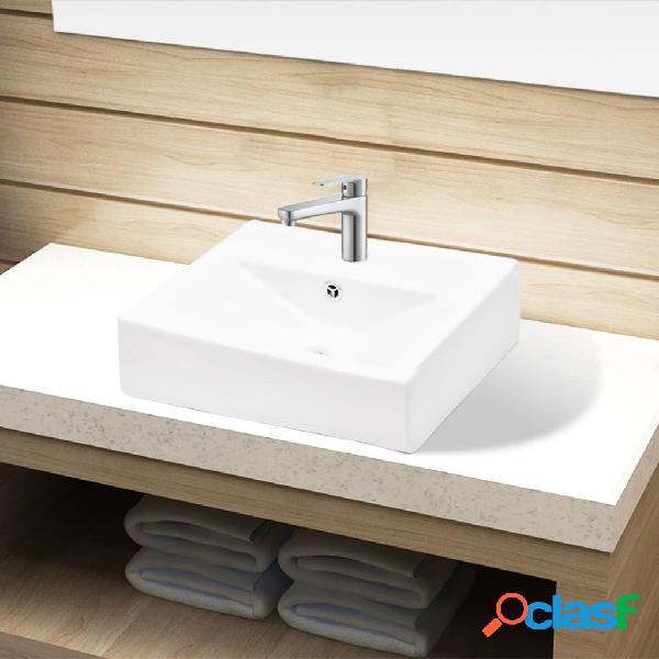Vidaxl lavandino bagno ceramica bianca rettangolare e foro di trabocco