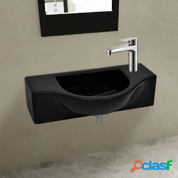 Vidaxl lavandino bagno in ceramica nera con foro per rubinetto