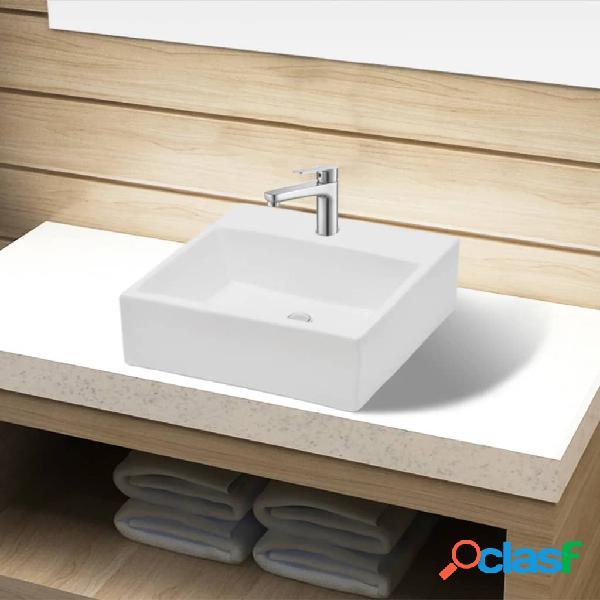 Vidaxl lavandino bagno in ceramica bianca quadrato con foro rubinetto