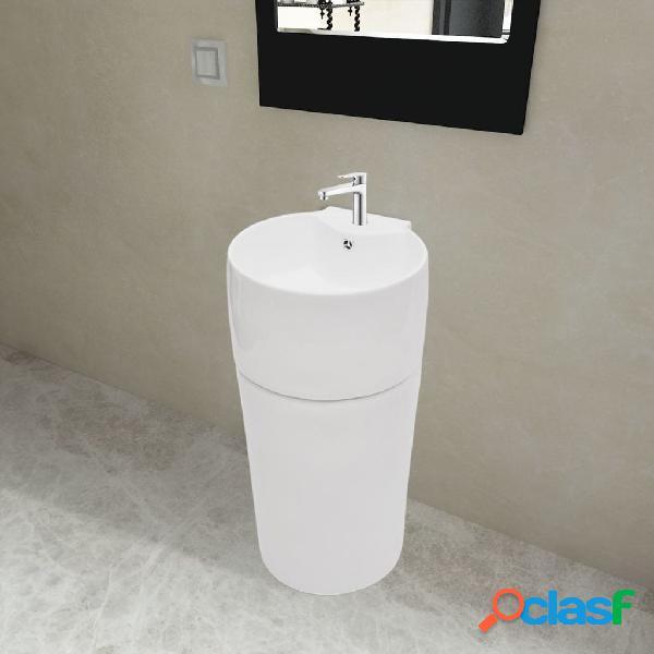 Vidaxl lavandino in ceramica bianca rotondo foro rubinetto/ trabocco