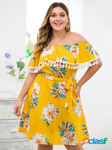 Yoins plus abito con sovrapposizione di spalle con stampa floreale gialla taglia