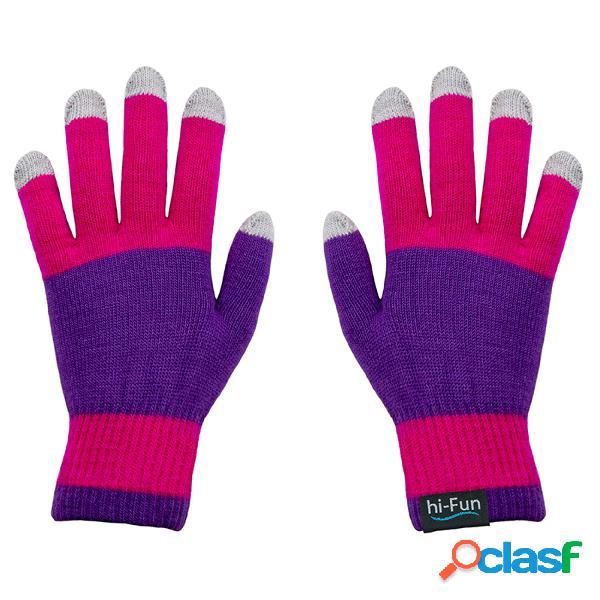 Guanti caldi donna per utilizzare per smarthphone tablet touch screen senza mai sfilarli con tessuto conduttivo sui polpastrelli colore rosa