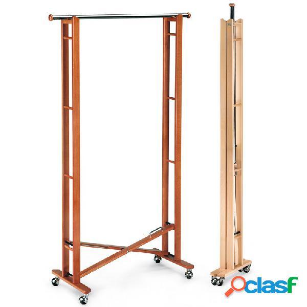 Appendiabiti pieghevole pliette con ruote in legno massiccio verniciato. 42,5x81x168cm -peso 7,0 kg ciliegio