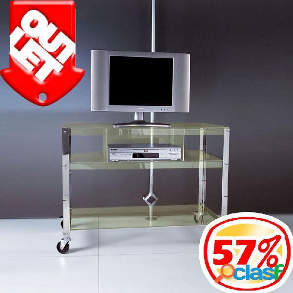 Carrello porta tv porta tv e vcr kyline 90x50xh74 cm - peso 18 kg 3 ripiani in metacrilato giallo soft