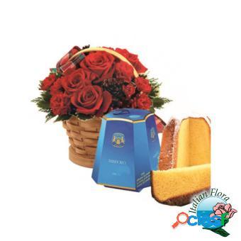 Cesto di rose rosse con pandoro - consegna in italia.