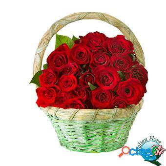 Cesto di rose rosse - consegna in italia.