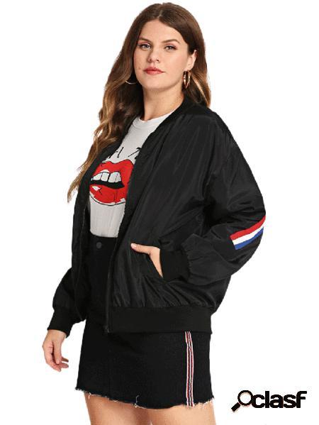 Yoins plus taglia giacca nera a maniche lunghe con zip frontale