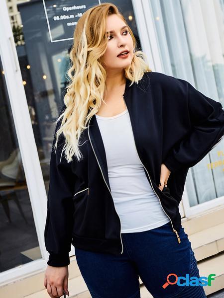 Yoins plus giacca nera con stampa ad ala con design con cerniera