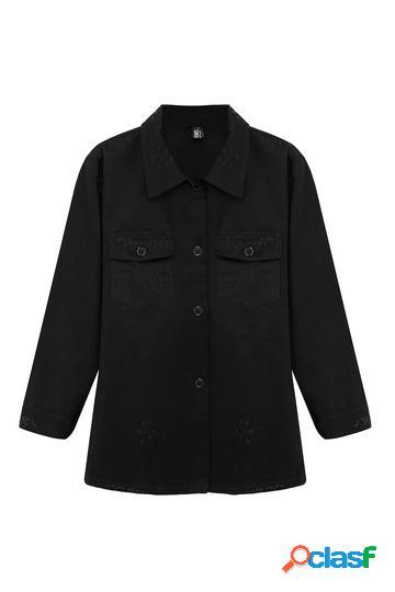 Yoins plus taglia giacca di jeans nera in nero