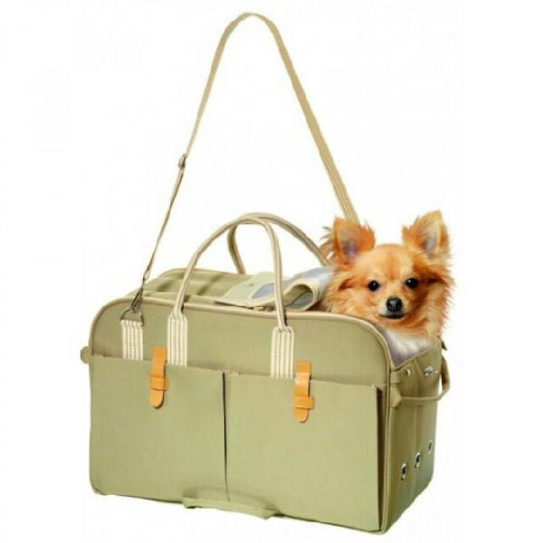 Borsa per cani e gatti a tracolla beige draagtas