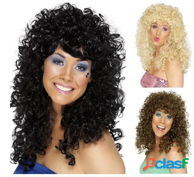 Parrucca bionda capelli ricci per barca anni '80 per donna ...